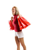 Smiling woman at shopping Stock Images