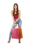 Smiling woman with shopping bags Stock Photography