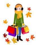 Smiling Woman with shopping bags. Happy shopping girl. Royalty Free Stock Images
