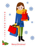Smiling Woman with shopping bags. Happy shopping girl. Royalty Free Stock Photos
