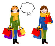 Smiling Woman with shopping bags. Happy shopping girl. Stock Photo