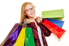 Smiling woman with shopping bags Royalty Free Stock Photography
