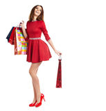 Smiling woman with shopping bags, Stock Photos