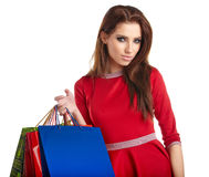 Smiling woman with shopping bags, Royalty Free Stock Image