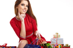 Smiling woman with shopping bags, Stock Images