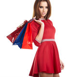 Smiling woman with shopping bags, Royalty Free Stock Images