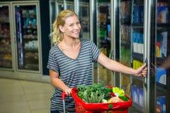 Smiling woman with shopping basket opening fridge Stock Image