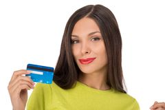 Smiling woman shopping with credit card Royalty Free Stock Photo