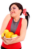 Smiling Woman Show Healthy Diet Royalty Free Stock Photos