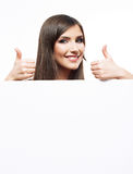 Smiling woman show white blank board. Stock Images