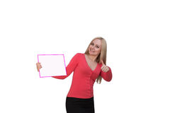 Smiling woman showing blank poster billboard. Portrait of beautiful charming woman with smile holding up a blank white sign for your attention isolated on Royalty Free Stock Photography