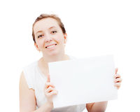 Smiling woman showing blank signboard Stock Images