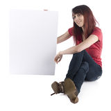 Smiling Woman Showing Cardboard with Text Space Stock Image
