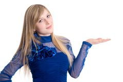 Smiling woman showing copy space for product Royalty Free Stock Photo