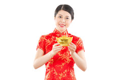 Free Smiling Woman Showing Gold For Lucky Stock Images - 83074054