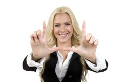 Smiling woman showing hand gesture Royalty Free Stock Photo