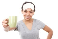 Smiling woman showing her cup Stock Image