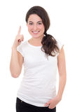 Smiling woman showing idea gesture isolated on white background Royalty Free Stock Images