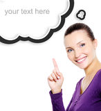 Smiling woman showing index finger Royalty Free Stock Images