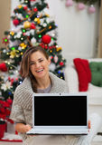 Smiling woman showing laptop blank screen Stock Photography