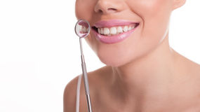 Smiling woman showing off her healthy white teeth Royalty Free Stock Photo
