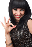 Smiling woman showing okay gesture Royalty Free Stock Photo
