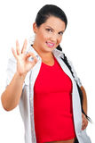 Smiling woman showing okay sign hand Royalty Free Stock Photo