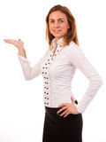 Smiling woman showing open hand Royalty Free Stock Photos