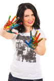 Smiling woman showing painted hands Royalty Free Stock Photo