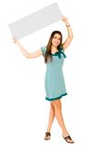 Smiling woman showing placard Royalty Free Stock Photo