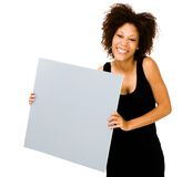 Smiling woman showing placard Royalty Free Stock Image