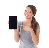 Smiling woman showing tablet pc Royalty Free Stock Photos