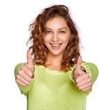 Smiling woman showing thumb up Royalty Free Stock Photo
