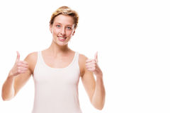 Smiling woman showing thumbs up Royalty Free Stock Photo