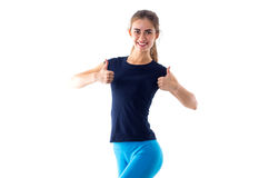 Smiling woman showing thumbs up Stock Photography