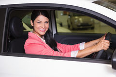 Smiling woman sitting at the wheel of her new car Stock Photos