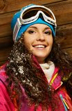 Smiling woman in ski jacket Stock Photography