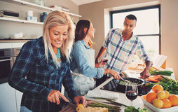 Smiling woman slicing ingredients for meal. Smiling women slicing ingredients for meal with diverse friends cooking asparagus spears in frying pan Stock Photography