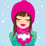 Smiling Woman With Snow Royalty Free Stock Image