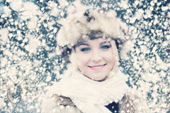 Smiling Woman in Snow Winter Royalty Free Stock Photography