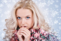 Smiling woman with snowflakes Royalty Free Stock Photography