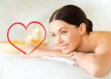 Smiling woman in spa salon Royalty Free Stock Photos