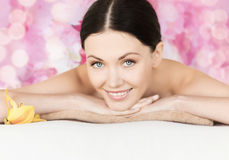 Smiling woman in spa salon Royalty Free Stock Images