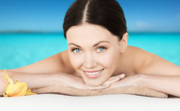 Smiling woman in spa salon Royalty Free Stock Photography