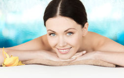 Smiling woman in spa salon Royalty Free Stock Photo