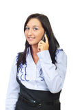 Smiling woman speaking at cellphone Stock Photo