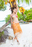 Smiling Woman Spending Chill Time Outdoor Bali Tropical Island. Exotics Summer Season Caribbean Ocean. Exotic Fruits. Palm Fish Boat. Vertical Picture. Blurred Royalty Free Stock Photography