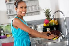 Smiling woman standing front of kitchen sink  washing dishes. Smiling woman standing front of kitchen sink  washing dishes and looking at camera stock photography