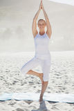 Smiling woman standing in tree pose on beach Stock Image