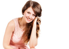 A smiling woman in studio Royalty Free Stock Photos